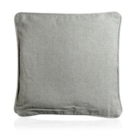 Set of 4 - 100% Luxury Cotton Cushion Cover with Piping and Zipper in Colour Grey (40x40 cm)