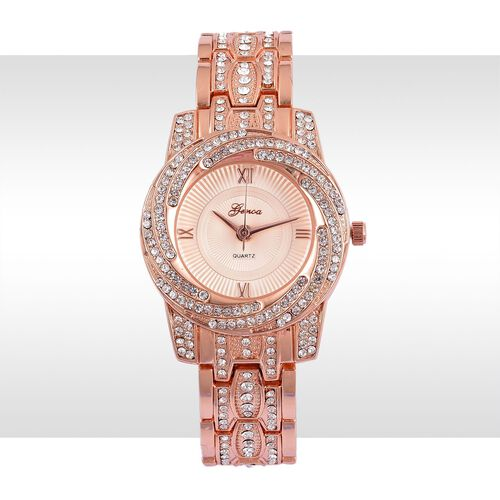 GENOA Japanese Movement Rose Colour Dial with White Austrian Crystal Water Resistant Watch in Rose Gold Tone with Stainless Steel Back and Chain Strap