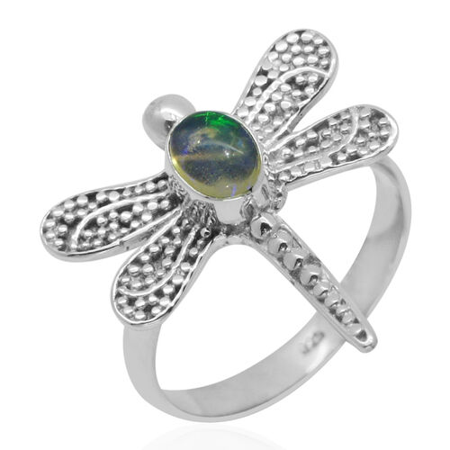 Royal Bali Collection Ethiopian Welo Opal (Ovl) Dragonfly Ring in Sterling Silver 0.580 Ct.