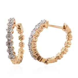 Diamond (Rnd) Hoop Earrings (with Clasp) in 14K Gold Overlay Sterling Silver 0.500 Ct.
