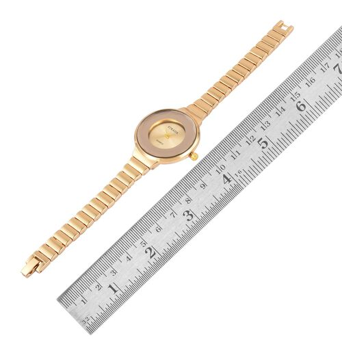 STRADA Japanese Movement Golden Sunshine Dial Water Resistant Watch in Gold Tone with Stainless Steel Back and Chain Strap