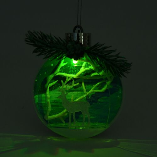 Set of 2 - Hanging Christmas Bauble with Multi Colour LED Light (Size 12X10 Cm)