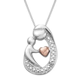 Diamond Mum and Child Love Pendant with Chain in Platinum and Rose Plated Silver