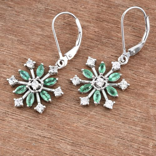 2 Carat Zambian Emerald Snowflake Silver Lever Back Earrings with Natural Cambodian Zircon in Platinum Overlay
