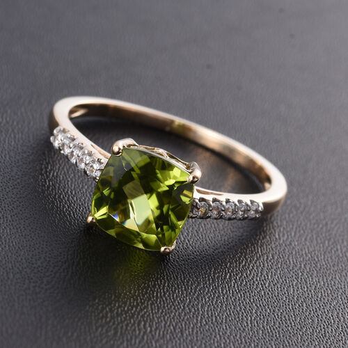 9K Yellow Gold 1.95 Ct Hebei Peridot Ring with Natural Cambodian Zircon