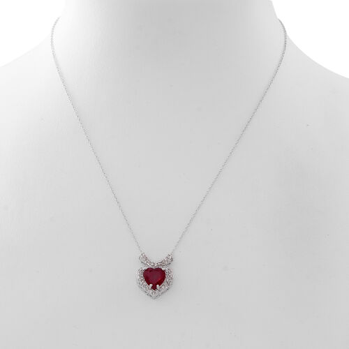 Designer Inspired - AAA African Ruby (Hrt), Natural White Cambodian Zircon Necklace (Size 18) in Rhodium Plated Sterling Silver 5.500 Ct.