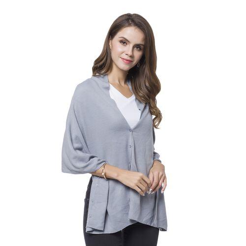 Designer Inspired Light Grey Colour Buttons Embellished Shawl (Size 156X50 Cm)
