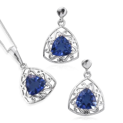 Ceylon Color Quartz (Trl) Solitaire Pendant With Chain and Earrings (with Push Back) in Platinum Overlay Sterling Silver 6.000 Ct.