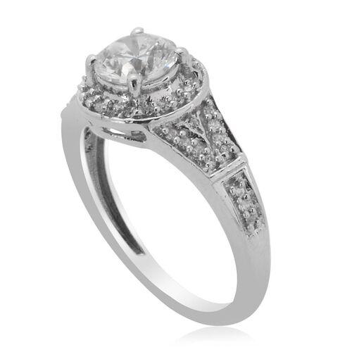 J Francis- Platinum Overlay Sterling Silver (Rnd) Ring Made with SWAROVSKI ZIRCONIA