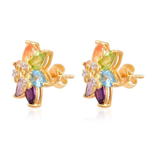 Limited Edition - Jalisco Fire Opal (Pear), Electric Blue Topaz, Citrine, Amethyst, Tanzanite, Peridot and Zircon Floral Stud Earrings (with Push Back) in Yellow Gold Overlay Sterling Silver 4.880 Ct.
