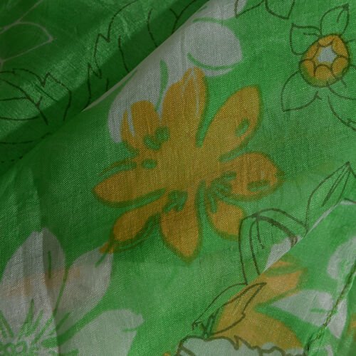 100% Mulberry Silk Green, Orange and Multi Colour Floral Hand Screen Printed Scarf (Size 180X50 Cm)