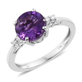 9K White Gold 1.85 Carat AA Amethyst Ring with Diamond