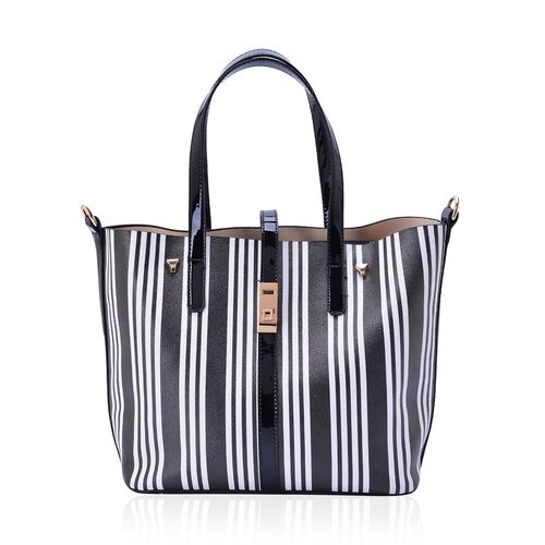 Set of 2 - Stripe Pattern Black and White Colour Large and Black Colour Small Handbag with Adjustable and Removable Shoulder Strap (Size 41.5x27.5x14, 35x18x13 Cm)