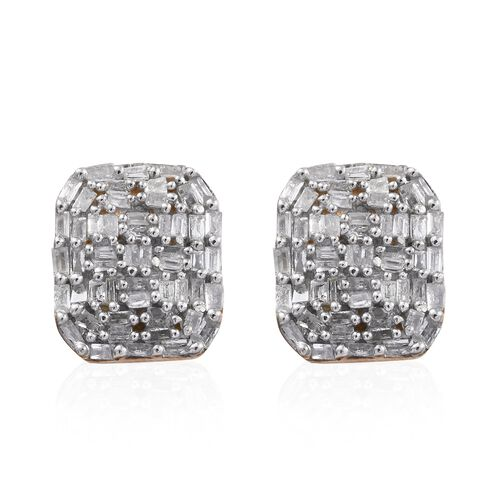 GP Diamond (Bgt), Kanchanaburi Blue Sapphire Stud Earrings (with Push Back) in 14K Gold Overlay Sterling Silver 0.530 Ct.