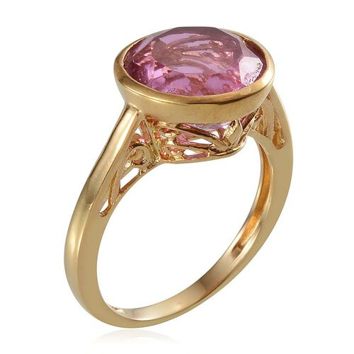 Kunzite Colour Quartz (Rnd) Solitaire Ring in 14K Gold Overlay Sterling Silver 7.750 Ct.