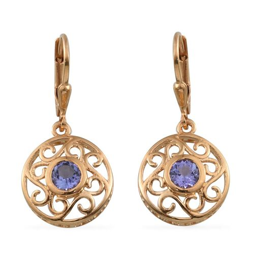 Tanzanite (Rnd) Lever Back Earrings in 14K Gold Overlay Sterling Silver 1.000 Ct.