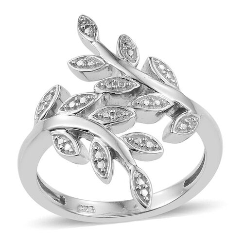 Diamond (Rnd) Leaves Crossover Ring in Platinum Overlay Sterling Silver