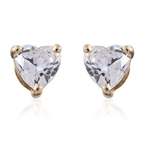 J Francis - 9K Y Gold (Hrt) Stud Earrings (with Push Back) Made with SWAROVSKI ZIRCONIA