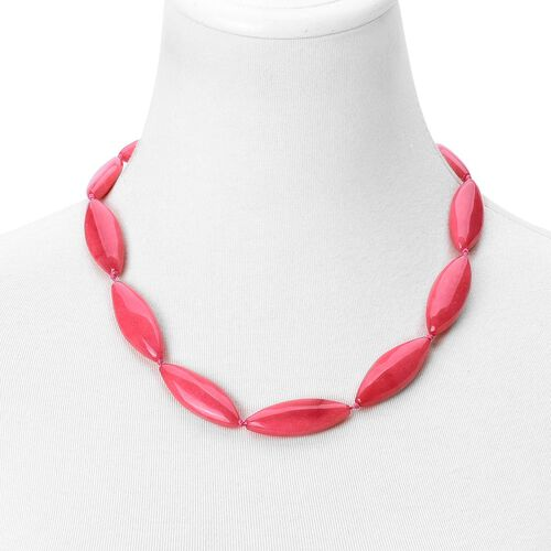 Red Quartzite Necklace (Size 20 with 2 inch Extender) in Silver Tone 395.000 Ct.
