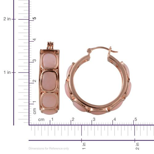 Peruvian Pink Opal (Cush) Hoop Earrings (with Clasp) in Rose Gold Overlay Sterling Silver 16.000 Ct.