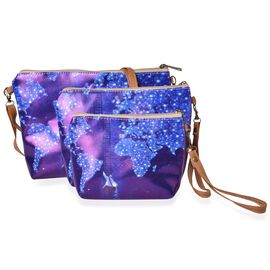 Set of 3 - Purple and Blue Colour Map and Human Pattern Cosmetic Bag (Size Large 28X27X7 Cm, Medium 21X15X6 Cm and Small 18X12X5 Cm)