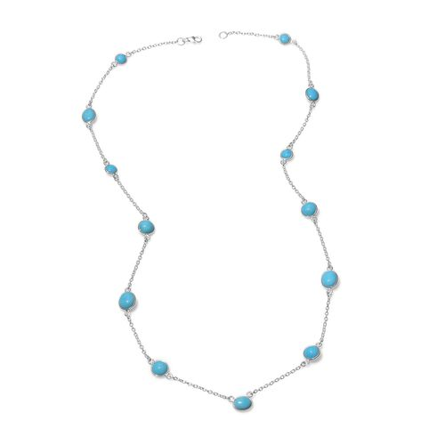 17.82 Ct Sleeping Beauty Turquoise Station Necklace in Platinum Plated Silver 24 Inch
