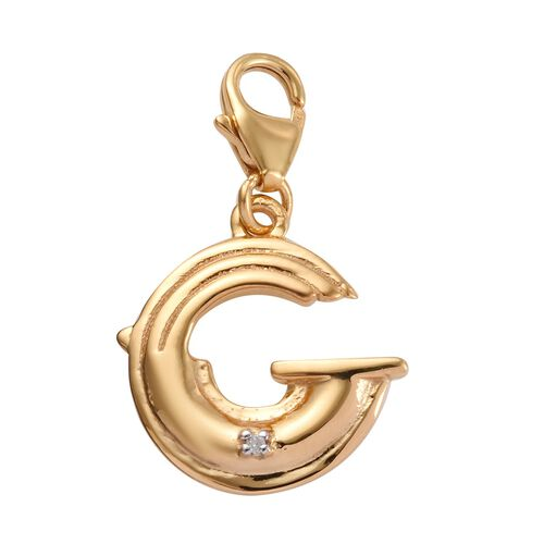 Diamond (Rnd) Initial G Charm in 14K Gold Overlay Sterling Silver