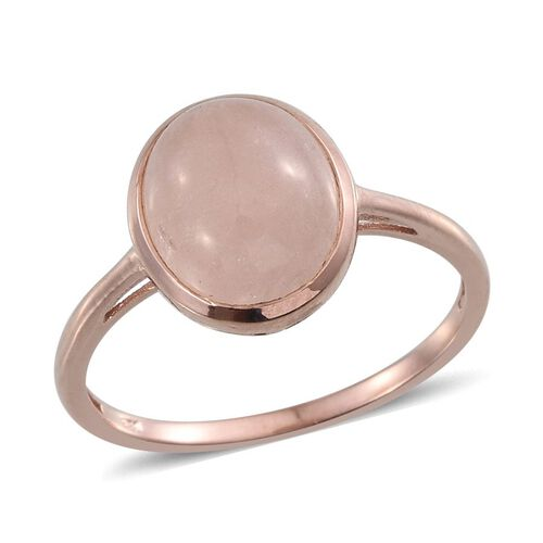 Marropino Morganite (Ovl) Solitaire Ring in Rose Gold Overlay Sterling Silver 5.250 Ct.