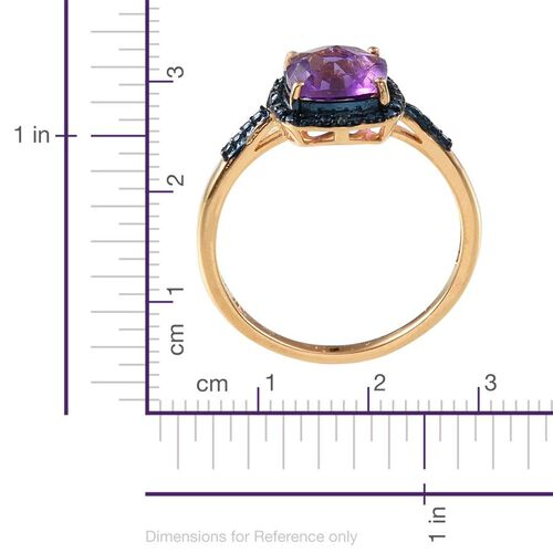 Checkerboard Cut Amethyst (Cush), Blue Diamond Ring, Stud Earrings (with Push Back) and Pendant in 14K Gold Overlay Sterling Silver 7.040 Ct.