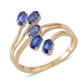 9K Y Gold AA Ceylon Sapphire (Ovl) 5 Stone Crossover Ring 1.750 Ct.
