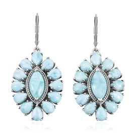 Larimar (Mrq) Lever Back Earrings in Platinum Overlay Sterling Silver 25.000 Ct. Silver wt 10.46 Gms.