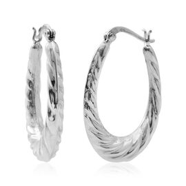 Designer Inspired-Sterling Silver Hoop Earrings (with Clasp Lock), Silver wt 6.01 Gms.