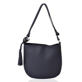 Classic Black Colour Shoulder Bag with Tassels (Size 29x27x6 Cm)