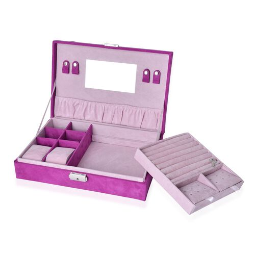Magenta Velvet Two Layer Jewellery Box with Removable Rings, Earrings Tray and Watch Slot and Section Storage with Mirror Inside (Size 28x19x7 Cm)