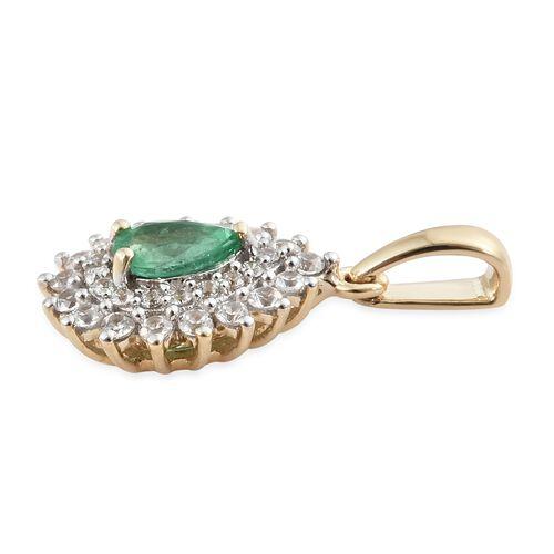 9K Yellow Gold AAA Premium Santa Terezinha Emerald (Pear), Natural Cambodian Zircon Pendant 1.250 Ct.