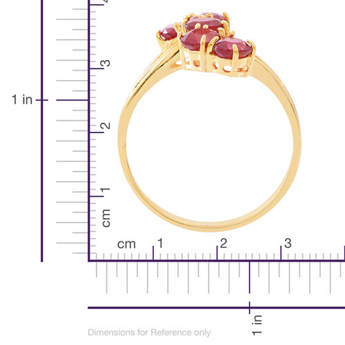 African Ruby (Ovl) 5 Stone Crossover Ring in 14K Gold Overlay Sterling Silver 2.750 Ct.