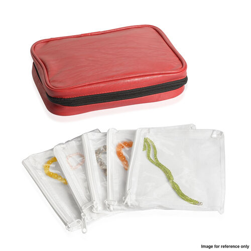 Red Colour Travelling Jewellery Bag (Size 25x20x6 Cm) with 5 Transparent Zipper Pouch (Size 19x15 Cm)