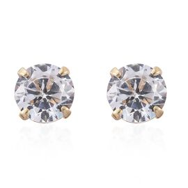 9K Yellow Gold AAA Simulated Diamond Solitaire Stud Earrings (with Push Back)