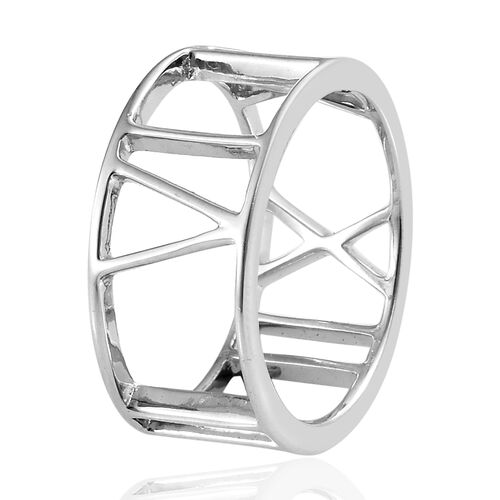 Platinum Overlay Sterling Silver Roman Number Inspired Band Ring, Silver wt. 2.74 Gms.