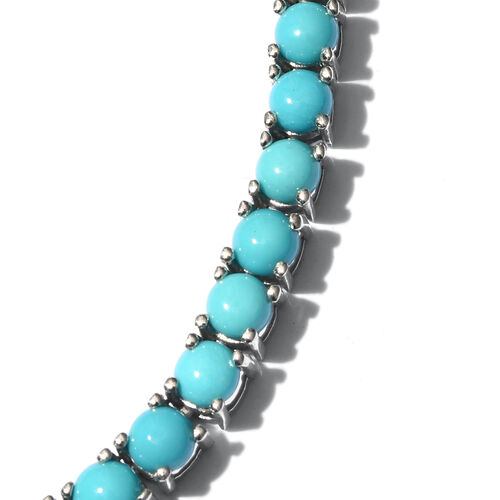 Limited Edition - AAA Arizona Sleeping Beauty Turquoise (Rnd) Necklace (Size 18) in Platinum Overlay Sterling Silver 27.750 Ct. 106 Sleeping Beauty Turquoise in Each Necklace