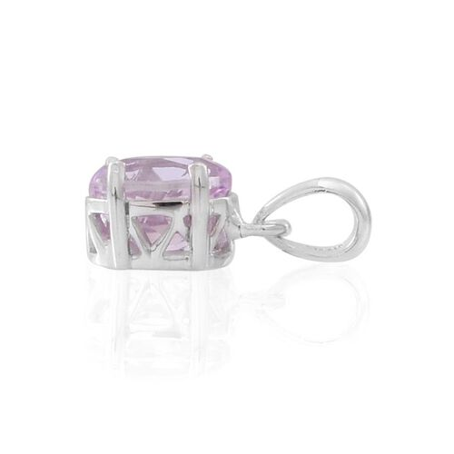 AAA Brazilian Kunzite (Ovl) Solitaire Pendant in Rhodium Plated Sterling Silver 2.000 Ct.
