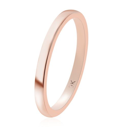 9K Rose Gold Plain Band Ring, Gold wt. 1.76 Gms.