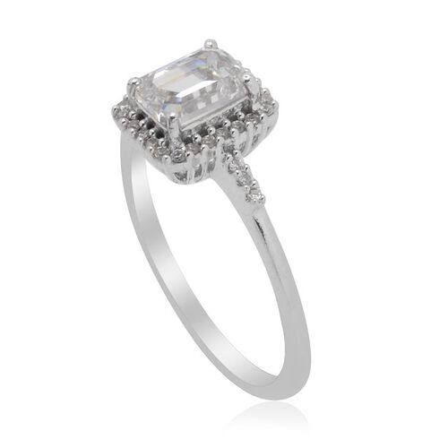 J Francis - Platinum Overlay Sterling Silver (Oct) Ring Made with SWAROVSKI ZIRCONIA