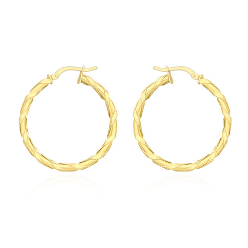 JCK Vegas Collection-9K Y Gold Twisted Hoop Earrings (with Clasp)