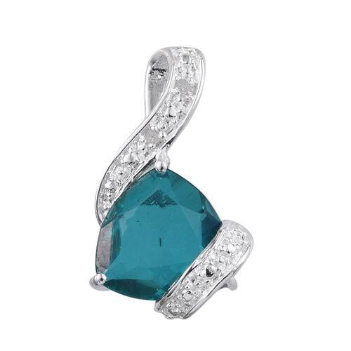 Capri Blue Quartz (Trl 4.00 Ct), Diamond Pendant in Sterling Silver 4.010 Ct.