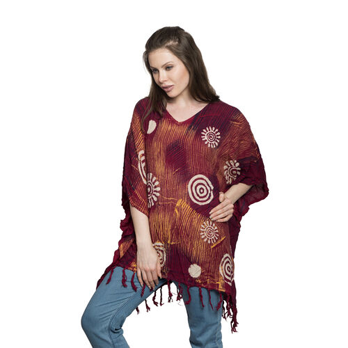 Summer Collection- V Neck Red, Maroon and Multi Colour Poncho/Beach Cover Up with Tassels (Free Size)