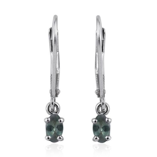 Narsipatnam Alexandrite (Ovl) Lever Back Earrings in Platinum Overlay Sterling Silver 0.500 Ct.