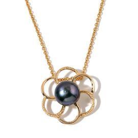 Fresh Water Peacock Pearl Floral Pendant with Chain in Yellow Gold Tone