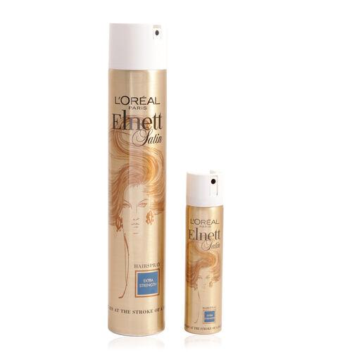 Loreal Elnett Satin Hair Spray 400ml & 75ml Pack Extra Strength