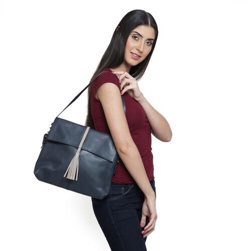 Genuine Leather Dark Blue Colour Shoulder Bag with Shoulder Strap (Size 30x26x6 Cm)